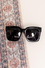 Black - Flat Lay of the Oversized Square Sunglasses