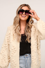 Model wearing the Oversized Square Sunglasses in Black/Gradient
