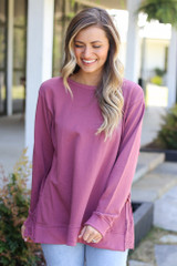Mauve - Eyelet Ruffle Pullover Side View