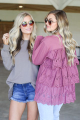 Mauve - Eyelet Ruffle Pullover in Mauve Back View
