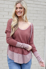 Burgundy - Contrast Waffle Knit Top