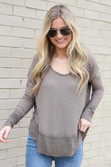 Mocha - Contrast Waffle Knit Top from Dress Up boutique