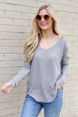 Grey - Dress Up model wearing the Contrast Waffle Knit Top from online boutique