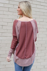 Contrast Waffle Knit Top in Burgundy Back View