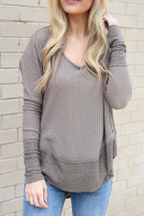 Dress Up model wearing the Contrast Waffle Knit Top in Mocha with jeans