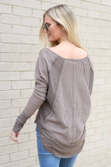 Contrast Waffle Knit Top in Mocha Back View