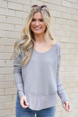 Dress Up model wearing the Contrast Waffle Knit Top in Grey with jeans and sunglasses