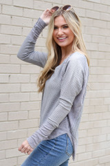 Contrast Waffle Knit Top in Grey Side View