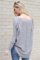 Contrast Waffle Knit Top in Grey Back View
