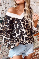 Leopard - Model wearing the Brushed Knit Oversized Top