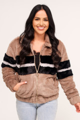 Taupe - Striped Faux Fur Jacket
