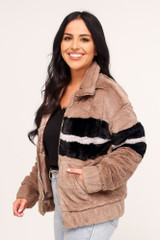 Taupe - Striped Faux Fur Jacket Side View