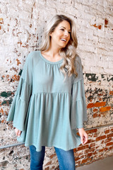 Bell Sleeve Waffle Knit Babydoll Tunic Side View