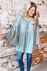 Bell Sleeve Waffle Knit Babydoll Tunic from Dress Up