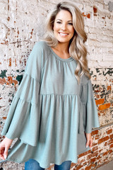 Sage - Bell Sleeve Waffle Knit Babydoll Tunic from Dress Up