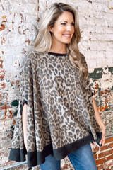Leopard - Brushed Knit Poncho