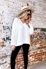 Model wearing the Oversized Popcorn Knit Top