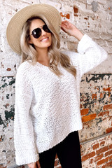 White - Model wearing the Oversized Popcorn Knit Top