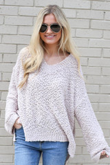Blush - Oversized Popcorn Knit Top