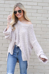Model wearing the Oversized Popcorn Knit Top in Blush