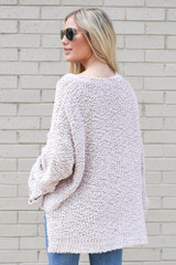 Oversized Popcorn Knit Top in Blush Back View