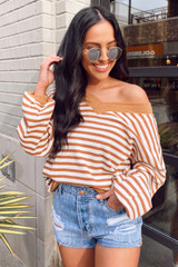 Model wearing the Striped Waffle Knit Oversized Top in Camel from Dress Up