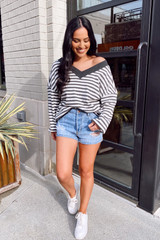 Model wearing the Striped Waffle Knit Oversized Top with denim shorts Full Outfit View