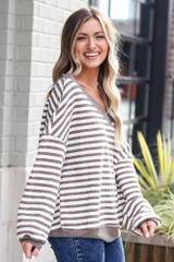 Model wearing the Striped Waffle Knit Oversized Top in Mocha with high rise jeans Side View