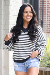 Charcoal - Striped Waffle Knit Oversized Top with denim shorts