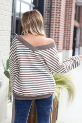 Model wearing the Striped Waffle Knit Oversized Top in Mocha with high rise jeans Back View