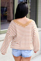 Model wearing the Striped Waffle Knit Oversized Top in Camel with denim shorts Back View