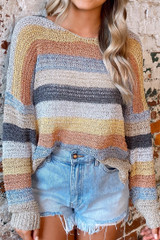 Taupe - Close Up of the Striped Loose Knit Top