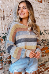 Striped Loose Knit Top Side View