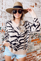 Tiger Print Brushed Knit Top