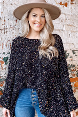 Black - Chenille Confetti Knit Oversized Top from Dress Up Boutique