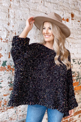 Black - Chenille Confetti Knit Oversized Top