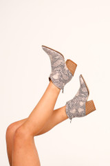 Snake - Microsuede Block Heel Booties from DressUp