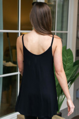 Basic V-Neck Tank in Black Back View