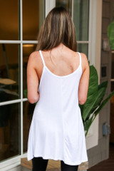 Basic V-Neck Tank in White Back View