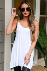 Dress Up model wearing the Basic V-Neck Tank in White with aviator sunglasses