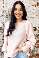Blush - Balloon Sleeve Brushed Waffle Knit Top from dress up boutique