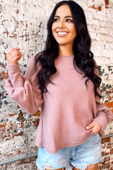 Mauve - Balloon Sleeve Brushed Waffle Knit Top from Dress Up Boutique