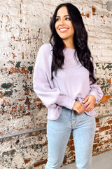 Lilac - Balloon Sleeve Brushed Waffle Knit Top from dressup