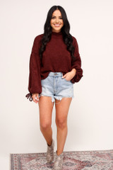 Burgundy - Balloon Sleeve Knit Top from dressup