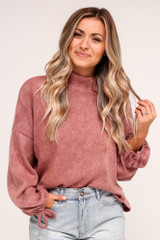 Mauve - Balloon Sleeve Knit Top from Dress Up