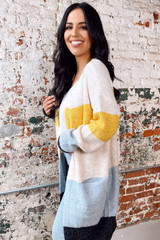 Ivory - Color Block Knit Cardigan