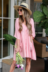 Blush - Model wearing the Blush Button Front Babydoll Dress with wide brim fedora and sunglasses