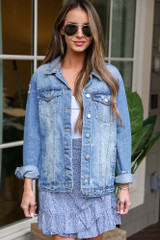 Medium Wash - Distressed Denim Jacket