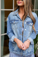 Medium Wash - Distressed Denim Jacket from Dress Up