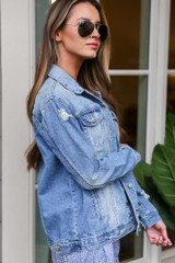 Distressed Denim Jacket Side View